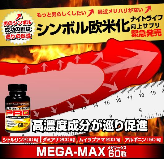 超高濃度性機能向上/性器増大サプリメント緊急発売メガマックス